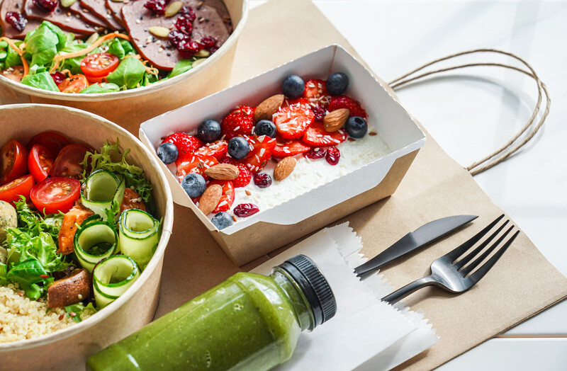 Healthy meal slimming diet plan background, food delivery service concept.