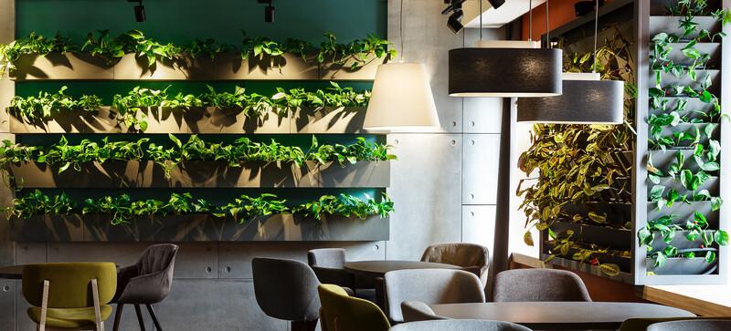 Floral interior in modern cafe